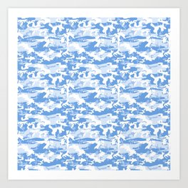 Military Camouflage Pattern - Blue White Art Print