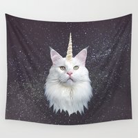 maine Wall Tapestries featuring Unicorn Cat by Oh Monday