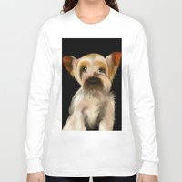 yorkie Long Sleeve T-shirts featuring Yorkie on Black by barefoot art online