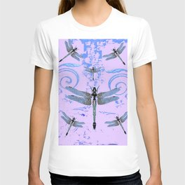 DELICATE BLUE & LILAC DRAGONFLIES ABSTRACT ART T-shirt