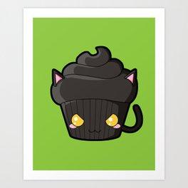 Spooky Cupcake - Black Cat Art Print
