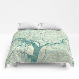 Washington Map Blue Vintage Comforters