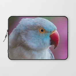 Blue Parakeet with Pink Flowers Laptop Sleeve