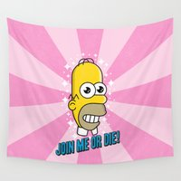 homer Wall Tapestries featuring Brave Corporate Logo by John Tibbott