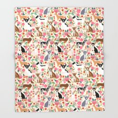 Chihuahua florals cute pastel dog breed must have gifts for small dog owner dog person pet portraits Throw Blanket