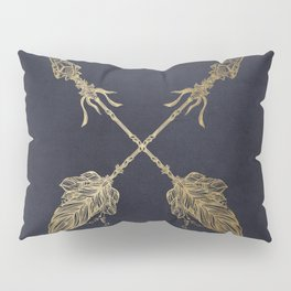 Arrows Gold Copper Bronze on Navy Blue Pillow Sham