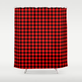 Valentine Red Heart Rich Red and Black Buffalo Check Plaid Shower Curtain