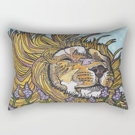 Lion in Lavender Painting Rectangular Pillow