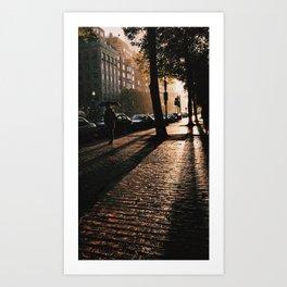 boylston st boston rainy sunset Art Print