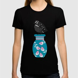 Quail, flowers and vases T-shirt