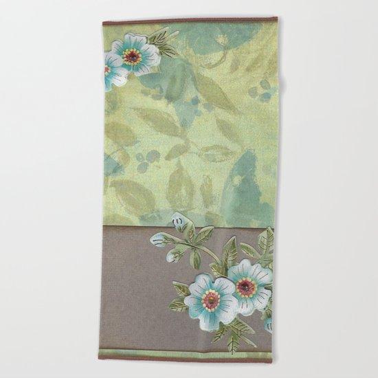 Brown paper flowers Beach Towel