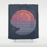 the mountains are calling Shower Curtains featuring The Mountains are Calling by Rick Crane
