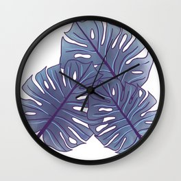 Large Monstera Leaf in Aegean Blue Wall Clock