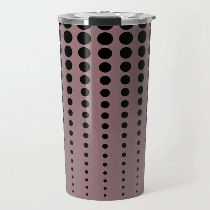 Reduced Black Polka Dots Pattern on Solid Pantone Red Pear Background Travel Mug