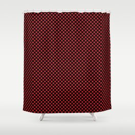 Black and Flame Scarlet Polka Dots Shower Curtain