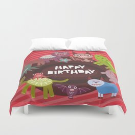 Happy birthday Funny monsters card Duvet Cover