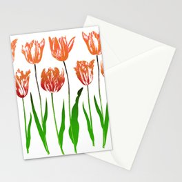 Tulip Garden Print in Shades of Coral Orange and Green Stationery Cards