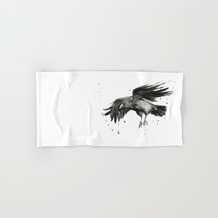 Raven Watercolor Bird Painting Black Animals Hand & Bath Towel