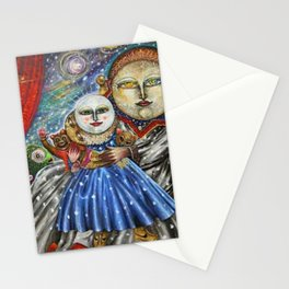Luna-Mistica - Mystical Moon and Constellations Surrealist portrait by Alejandro Colunga Stationery Cards