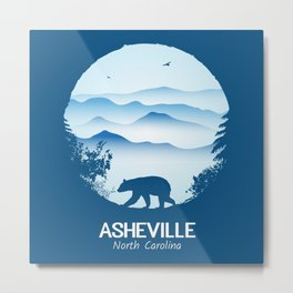 Asheville Blue Ridge Mtns - AVL 1 Blue Metal Print