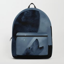 Wolf howling at full moon Backpack