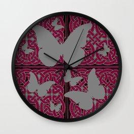 Grey Mystic Butterflies Burgundy Purple Celtic Art Wall Clock