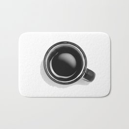 Cup of Coffee (Black and White) Bath Mat