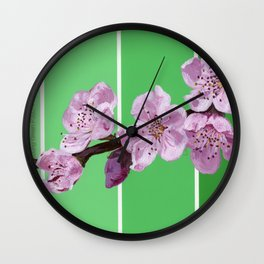 Cherry Blossoms on Greens Wall Clock