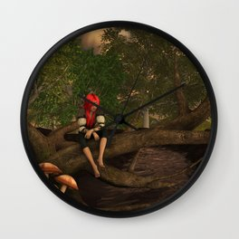Dryad On A Tree By Raindrop Drinkwater Wall Clock