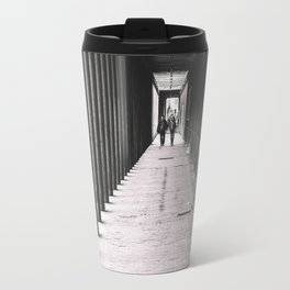 Arcade with columns in Copenhagen, architecture black and white photography Travel Mug