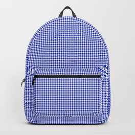 Small Cobalt Blue and White Houndstooth Check Pattern Backpack