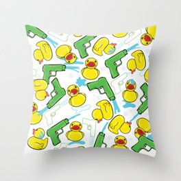 Rubber Duckies and Waterguns Throw Pillow
