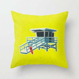 California Lifeguard Tower Throw Pillow