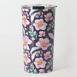 Elegant purple pink teal watercolor botanical floral pattern Travel Mug