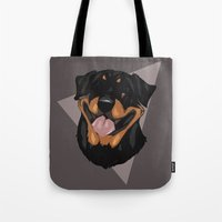 rottweiler Tote Bags featuring Rottweiler by Mickeyila Studios