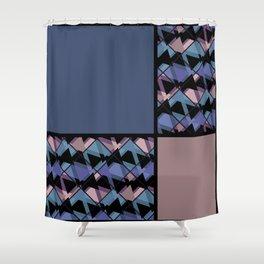 Blue brown patchwork Shower Curtain