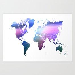 Rainbow World Map. Blue Purple Art Print