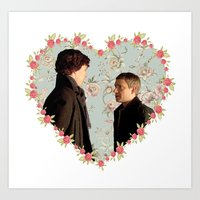 johnlock Art Prints featuring Hearted Johnlock by thescudders