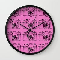 cameras Wall Clocks featuring Cameras by Lara Brambilla