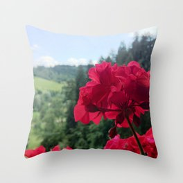 Geranium outside the window photography Throw Pillow