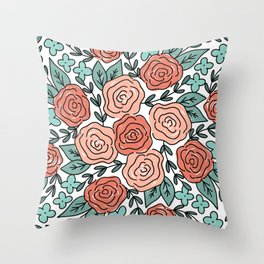 Coral and Teal Repeating Roses Floral Pattern Throw Pillow