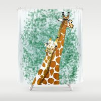 giraffes Shower Curtains featuring giraffes by Isabel Sobregrau