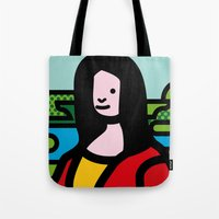 mona lisa Tote Bags featuring Mona Lisa by Hello Animal