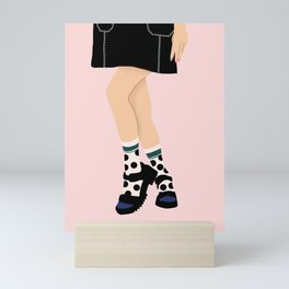 Polka Dots Socks - Blue and green Mini Art Print