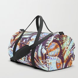 Arabesque Plant Jungle in Lavender, Orange and Purple Ethnic Pattern Illustration Duffle Bag