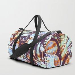 Arabesque Plant Jungle in Lavender, Orange and Purple Ethnic Pattern Illustration Duffle Bag