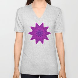 Violet abstract star Unisex V-Neck