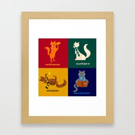 Hogwarts Cat Houses Framed Art Print