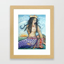 Mermaid at Play Framed Art Print