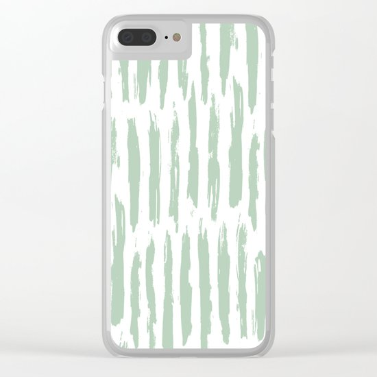 Vertical Dash Stripes Pastel Cactus Green on White Clear iPhone Case